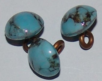"""Tiny Vintage Diminutive Glass Buttons ~ Turquoise and Black Matrix ~ Looks Like Stone ~ 5/16"""" with Brass Loop Shank ~ Doll Buttons ~"""