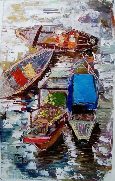 "FLOATING MARKET 12x19"" textured oil on canvas, live painting, Mekong Delta (Cần Thơ Province), original by Nguyen Ly Phuong Ngoc"