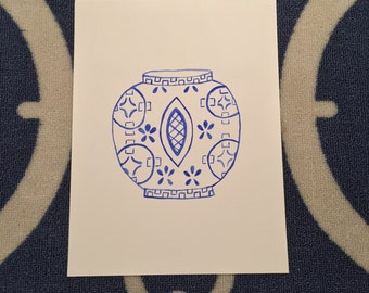 Alexandra Blue and White Chinoiserie Vase Watercolor Print