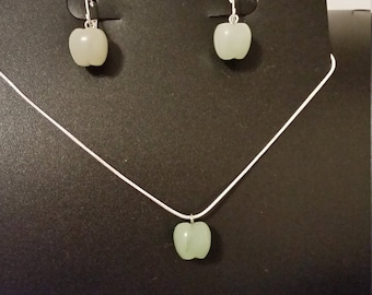 Green Apple Necklace and Pierced Earring Set