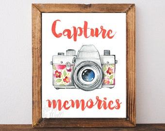 Vintage camera print, retro camera, camera art, capture memories, watercolour camera, instant download, photography quote printable wall art