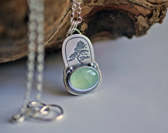 Silver bonsai prehnite necklace