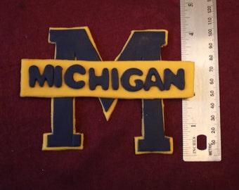 University of Michigan Inspired fondant logo and Coach Jim Harbaugh, cake topper