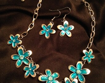 Blue Enamel Flowers Necklace and Earring Set