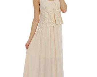 Floral Detail Top Maxi Dress