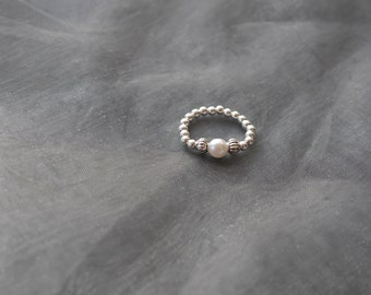 Pearl Beaded Elasticated Sterling Silver Ring