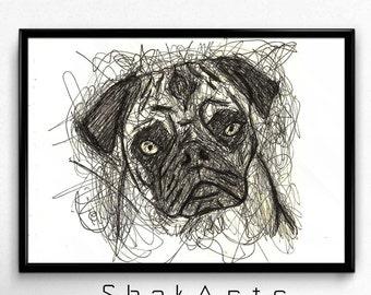 Dog Print, Dog decal, Animal wall art, Dog Wall Art, Nursery Wall Art Print, Baby Dog, Dog Art, Hungry Dog, Cute puppy, Puppy print, Artwork