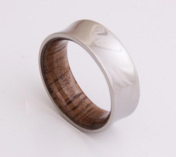 wedding ring titanium and hawaiian koa wood mens wood