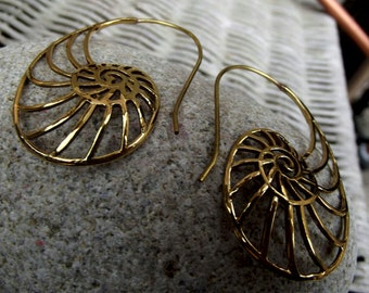 Brass spiral earrings, brass earrings, hoop earrings, spiral earrings, brass spiral, tribal spiral,tribal spiral brass