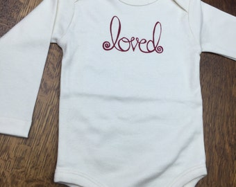 Organic Baby Onesie Clothing,  Eco Friendly, Baby Shower Gifts, Long Sleeve Baby Onesie (natural) - Loved
