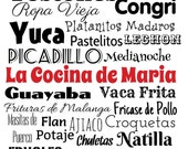 Cuban Food, Personalized, 8x10 Kitchen Wall Print, Comida Cubana, Cuban kitchen, kitchen decor, Cuban art, Cuban stuff, Cuban food, kitchen