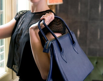 Blue Leather Bag, Blue Leather, Blue Bag, Leather Bag, Blue Handbag, Leather Handbag, Genuine Leather Handbag, Top Handle Bag, Office Bag