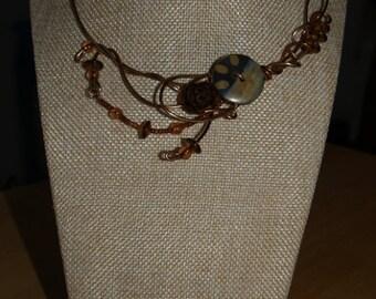 Pinecone brown necklace, bronze wire, button