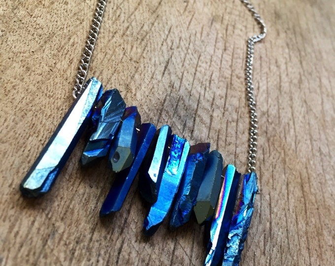 Dark Blue Crystal Bar Necklace