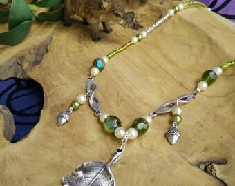 Oak Grove - collana girocollo necklace celtci grove celtico verde green quercia oak ghianda acorn perle pearls cristalli crystals