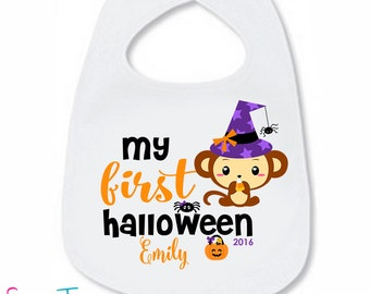 My First Halloween Bib Monkey Baby Bodysuit Pumpkin Spider Personalized with Name and Year Boy Girl