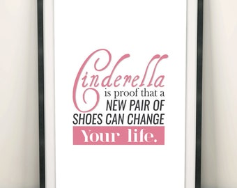 """Digital Download """"CINDERELLA"""" Quote Poster / Wall Art / A4 and A3 size"""