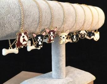 Dog Charm Bracelet, Doggie Bracelet: Chihuahua, Boston Terrier, Bulldog, Pug, Husky, Shiba Inu, Shihtzu, Jack Russell, Made to Order