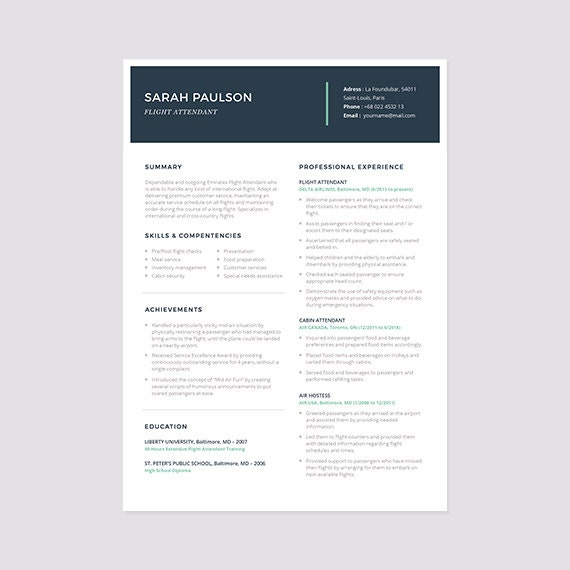instant resume templates flight attendant resume template instant download cover