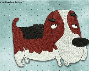 Cool Dog Basset Hound embroidery design - downloadable - 3 sizes