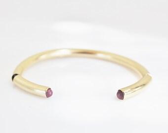 gold cuff bracelet, open bracelet, Ruby cuff bracelet,gemstone bracelet, gold ruby bracelet