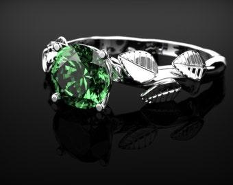 Emerald Leaf Ring White Gold Emerald Branch Engagement Ring White Gold Ring Emerald Ring Unique Engagement Ring Emerald in White Gold