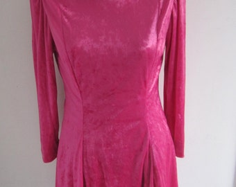 70s Short Pink Candy Plush Long Sleeves Handmade Dress size S