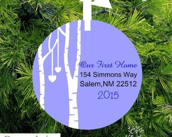 Our First Home Christmas Ornament - Birch Tree - Personalized Porcelain Housewarming Holiday Gift - BTL23 - lovebirdschristmas