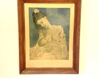Vintage RARE Pablo Picasso Maternity Mother and Child Breastfeeding Lithograph Print / Nursery Decor / Wall Art / Motherhood