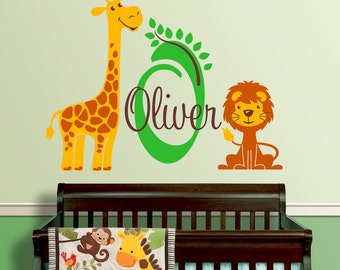 Giraffe and Lion Custom Name Personalized Initial Vinyl Wall Decal Sticker for Nursery Kid's Room or Playroom