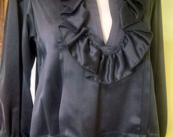 Black Silk shirt, with ruffled neck and collar and pleated back