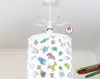 Colouring Aimals Lampshade pendant Light Shade + Ereki Magnetic Set + Crayons Perfect for Kids, Children, toddlers