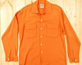 Vintage 1940's/50's Orange Gabardine Loop Shirt / Retro Collectable Rare