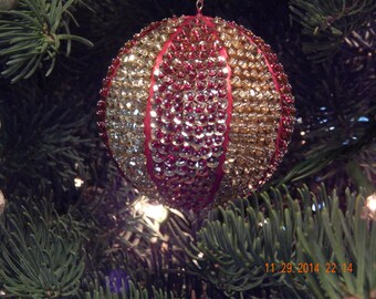 Red and Gold Beaded and Sequined Ornament