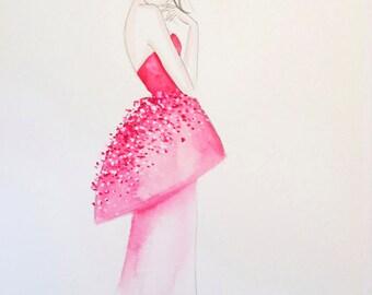 Fashion Illustration Lady in Pink - Print
