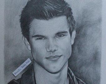 ORIGINAL Drawing of Jacob Black (Taylor Lautner) Graphite Pencil Portrait