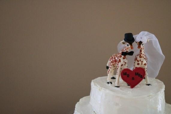 Giraffe Bride And Groom Custom Wedding Cake Topper Animal