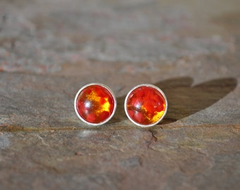 Stud Earrings. Sterling Silver. Amber and Red Glass