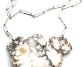 Large Hand Polished White Howlite Slab Necklace with large Fine Silver Coated Bronze Oval chain
