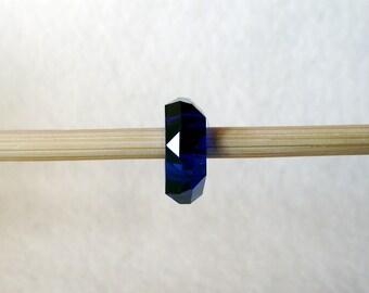 European Charm Bracelet Navy Blue Faceted Resin Bead 14mm x 5mm