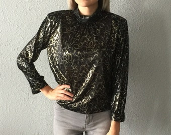 Vintage Metallic Mock Turtleneck Disco Blouse