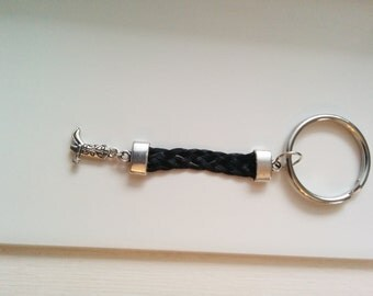 Key holder in black color braided horse hair