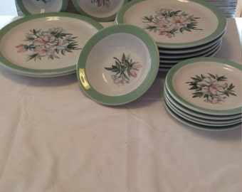 58 Pieces of Vintage 40's and 50's Shenango China Mountain Laurel Pattern.  Free shipping in the USA.