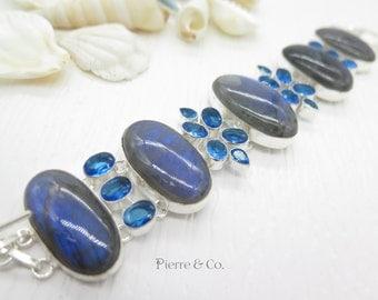 Blue Fire Labradorite and Blue Topaz Sterling Silver Bracelet