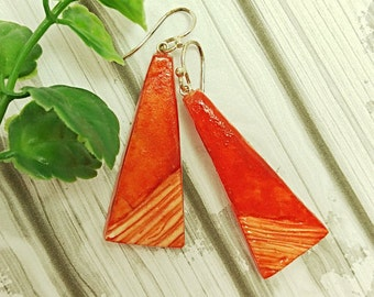 Minimalist earrings, Orange dangle earrings, Geometric earrings, Artisan earrings, Sterling silver hooks, Earrings for sensitive ears,
