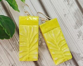 Yellow earrings, Lemon earrings, Artisan earrings, Rectangle earrings, Leaf earrings, Sterling silver, Clay earrings, Faux polymer clay