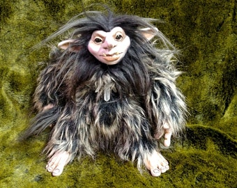 Troll Doll Black with Brown Tips Faux Fur Female