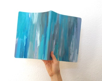Hand Painted Blue Abstract Art Journal - Moleskin