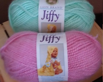 Lion Brand Jiffy yarn in Rose and Mint *DISCONTINUED* colors