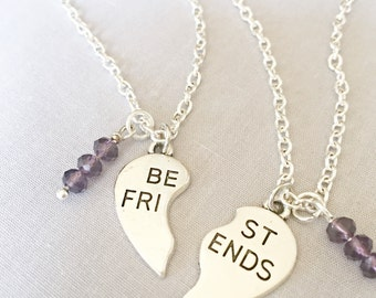 Silver Best Friends Necklaces - Set of Two Friendship Necklaces,Purple Bff Charm,Friendship Necklaces,Best Friend Jewelry,Best Friend Gift